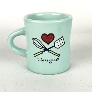 Life is good Whisk Blue Mug baking cook Spatula